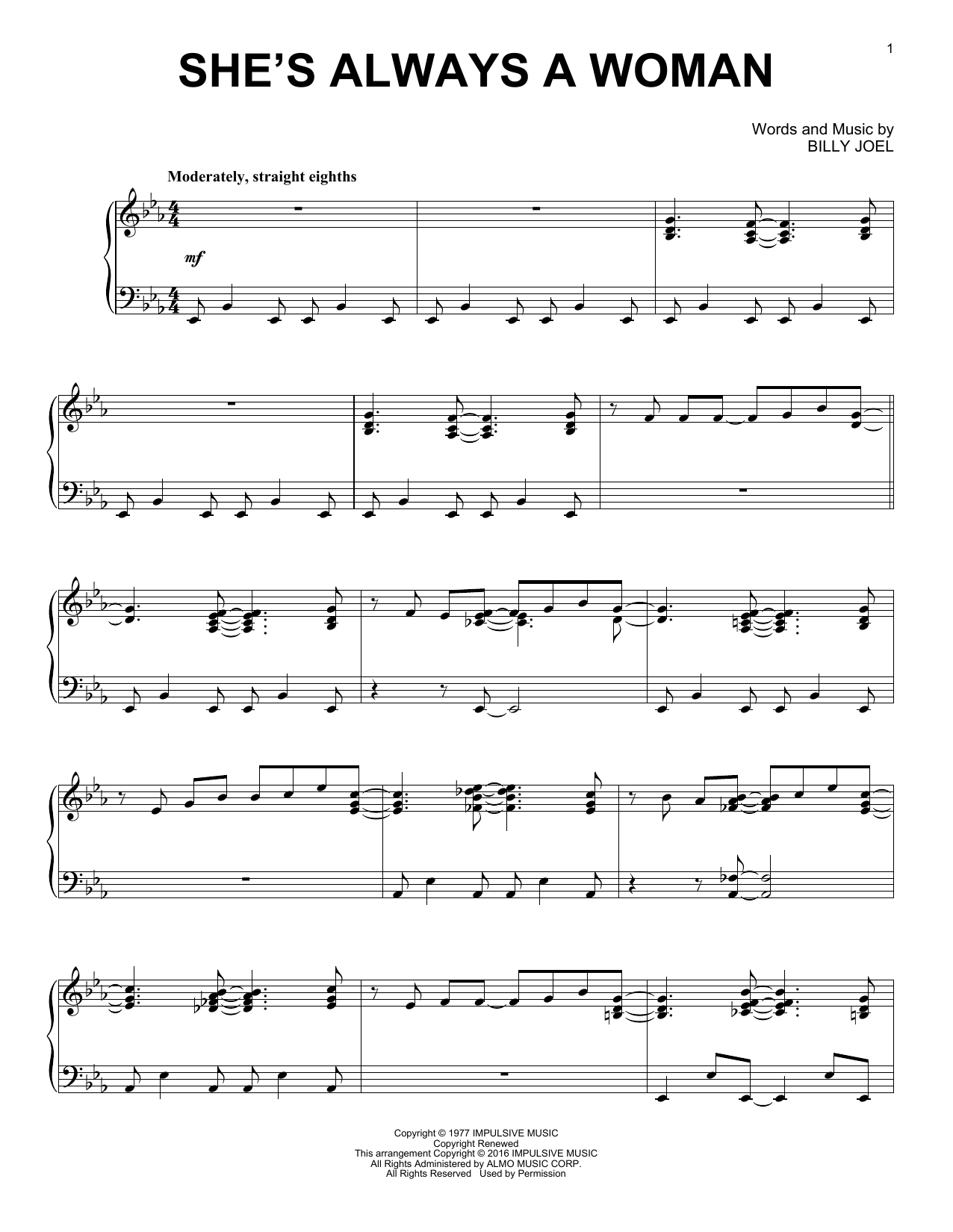 Download Billy Joel 'She's Always A Woman' Digital Sheet Music Notes & Chords and start playing in minutes