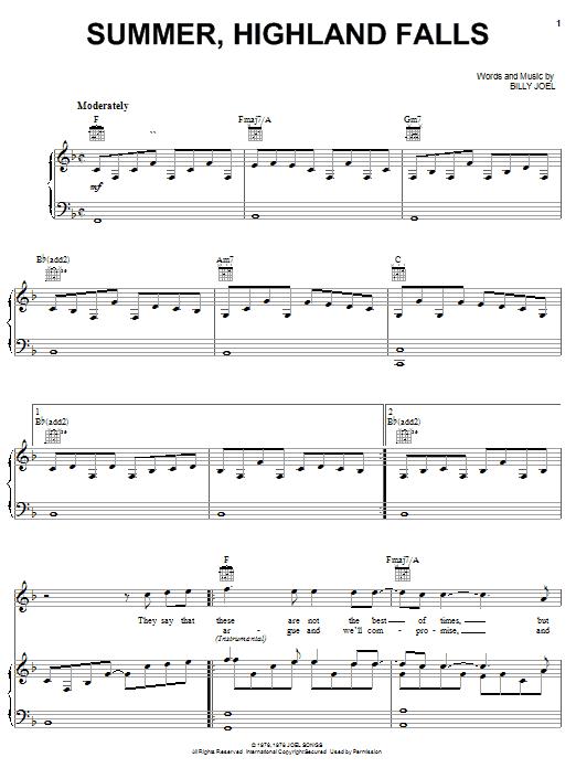 Billy Joel Summer, Highland Falls sheet music notes and chords