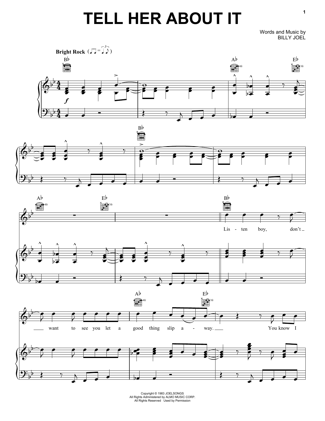 Billy Joel Tell Her About It sheet music notes and chords