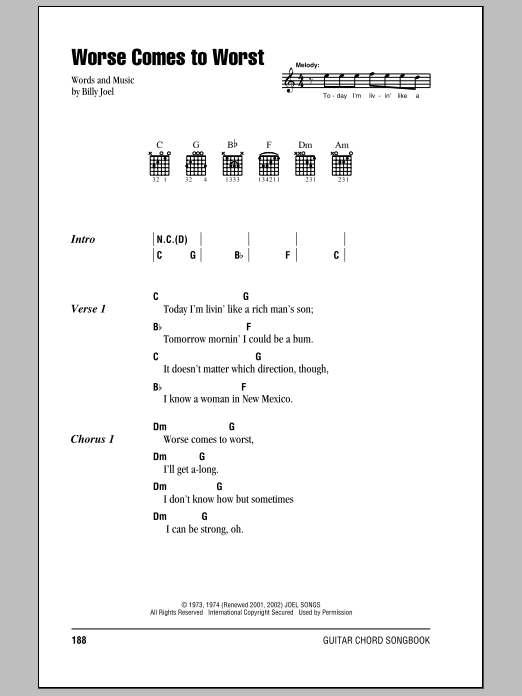 Billy Joel Worse Comes To Worst sheet music preview music notes and score for Piano, Vocal & Guitar (Right-Hand Melody) including 5 page(s)