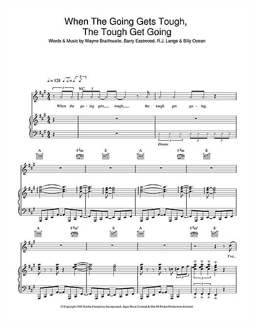 Billy Ocean When The Going Gets Tough, The Tough Get Going sheet music notes and chords