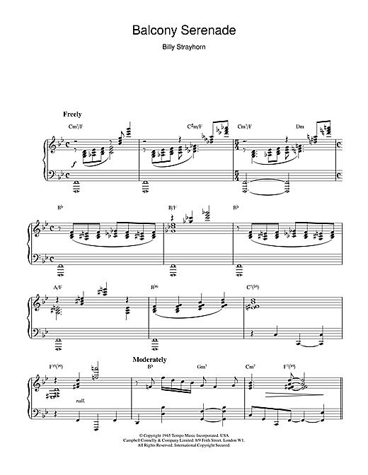 Billy Strayhorn Balcony Serenade sheet music notes and chords