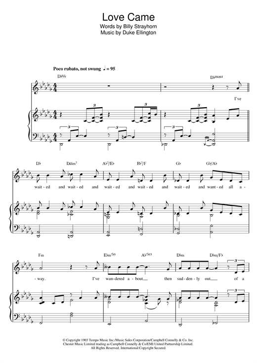 Download Billy Strayhorn 'Love Came' Digital Sheet Music Notes & Chords and start playing in minutes