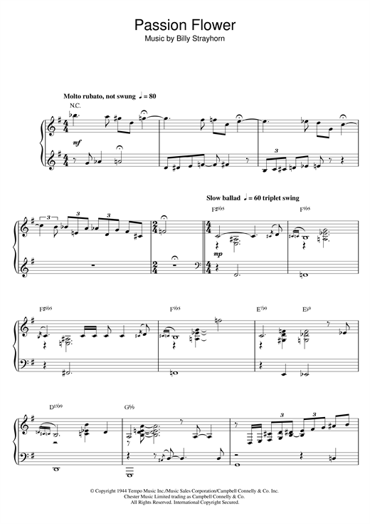Download Billy Strayhorn 'Passion Flower' Digital Sheet Music Notes & Chords and start playing in minutes