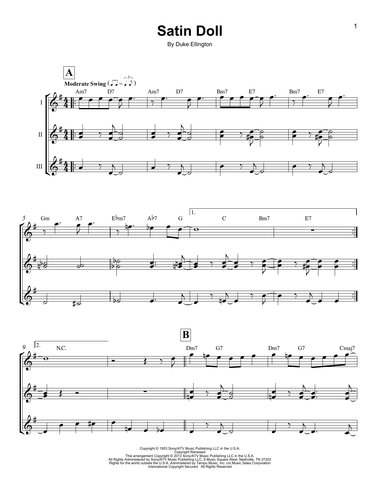 Download Billy Strayhorn 'Satin Doll' Digital Sheet Music Notes & Chords and start playing in minutes
