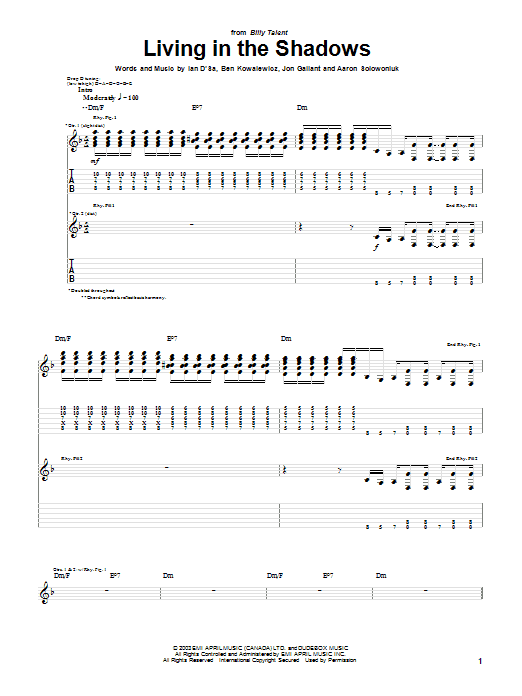 Billy Talent Living In The Shadows sheet music preview music notes and score for Guitar Tab including 5 page(s)