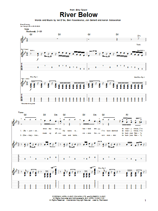 Billy Talent River Below sheet music preview music notes and score for Guitar Tab including 5 page(s)