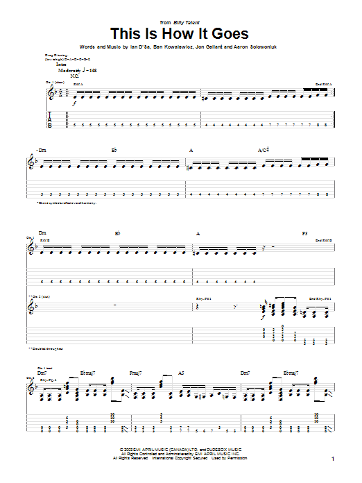 Billy Talent This Is How It Goes sheet music preview music notes and score for Guitar Tab including 5 page(s)
