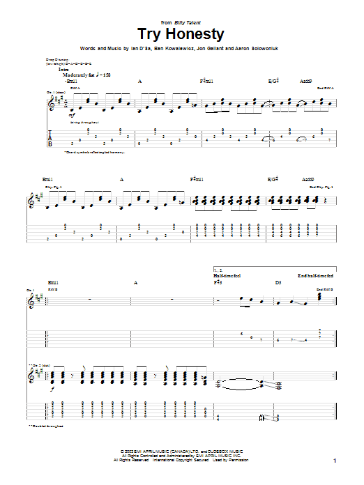 Billy Talent Try Honesty sheet music preview music notes and score for Guitar Tab including 5 page(s)
