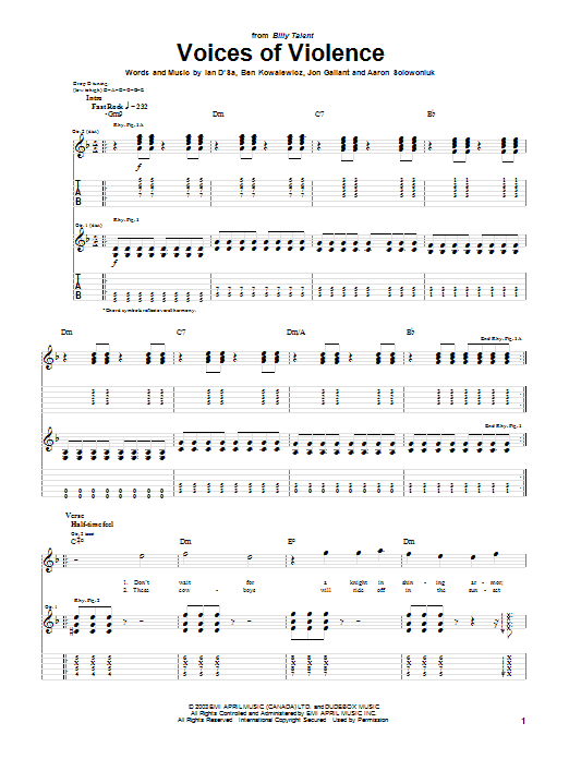 Billy Talent Voices Of Violence sheet music preview music notes and score for Guitar Tab including 5 page(s)