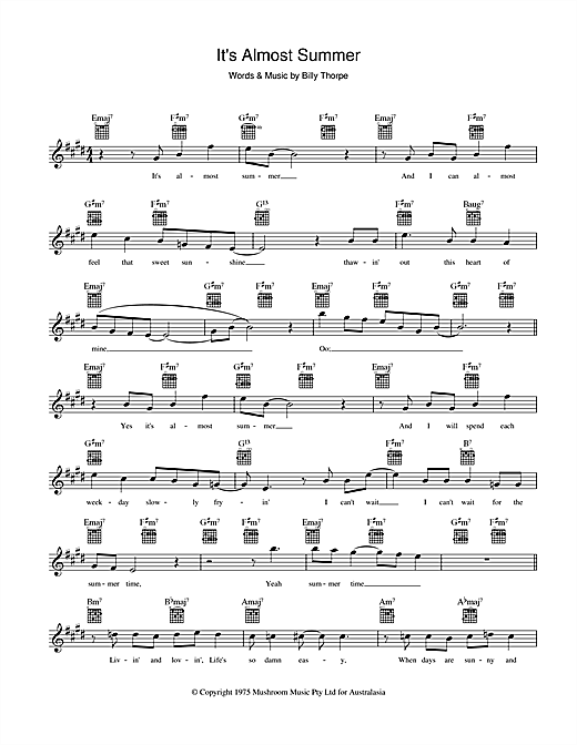 Billy Thorpe It's Almost Summer sheet music preview music notes and score for Melody Line, Lyrics & Chords including 2 page(s)