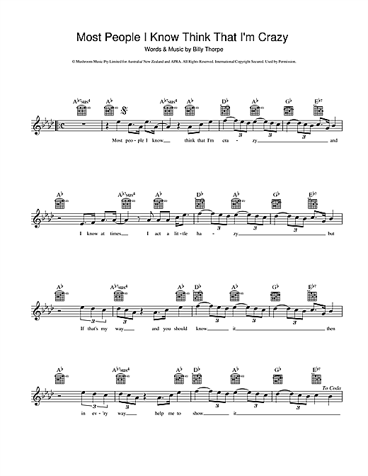 Billy Thorpe Most People I Know Think That I'm Crazy sheet music preview music notes and score for Melody Line, Lyrics & Chords including 2 page(s)
