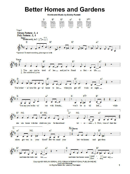 Billy Walker Better Homes And Gardens sheet music preview music notes and score for Easy Guitar including 3 page(s)