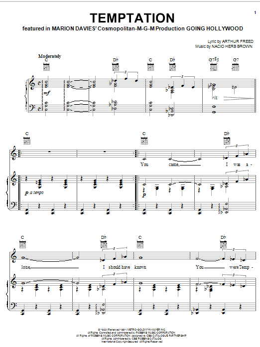 Bing Crosby Temptation sheet music notes and chords