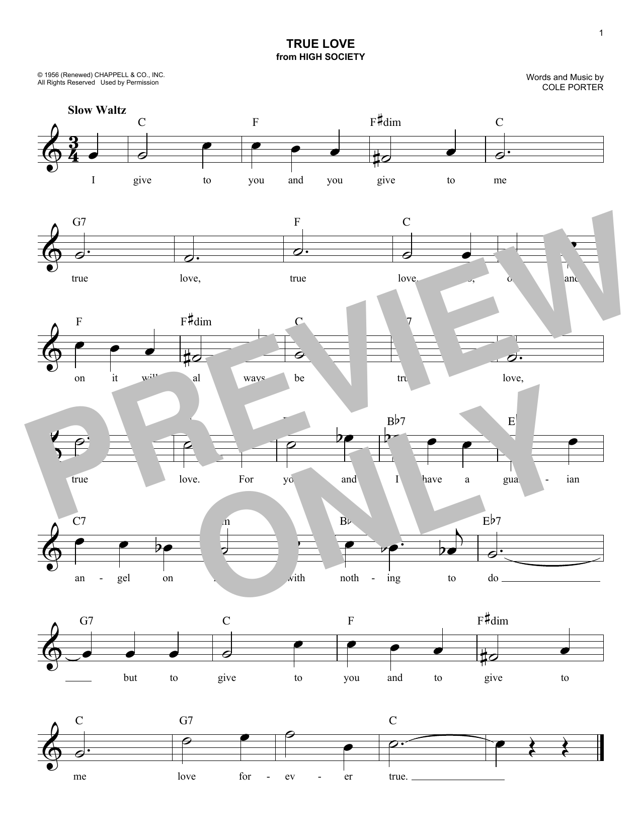 Bing Crosby True Love sheet music notes and chords