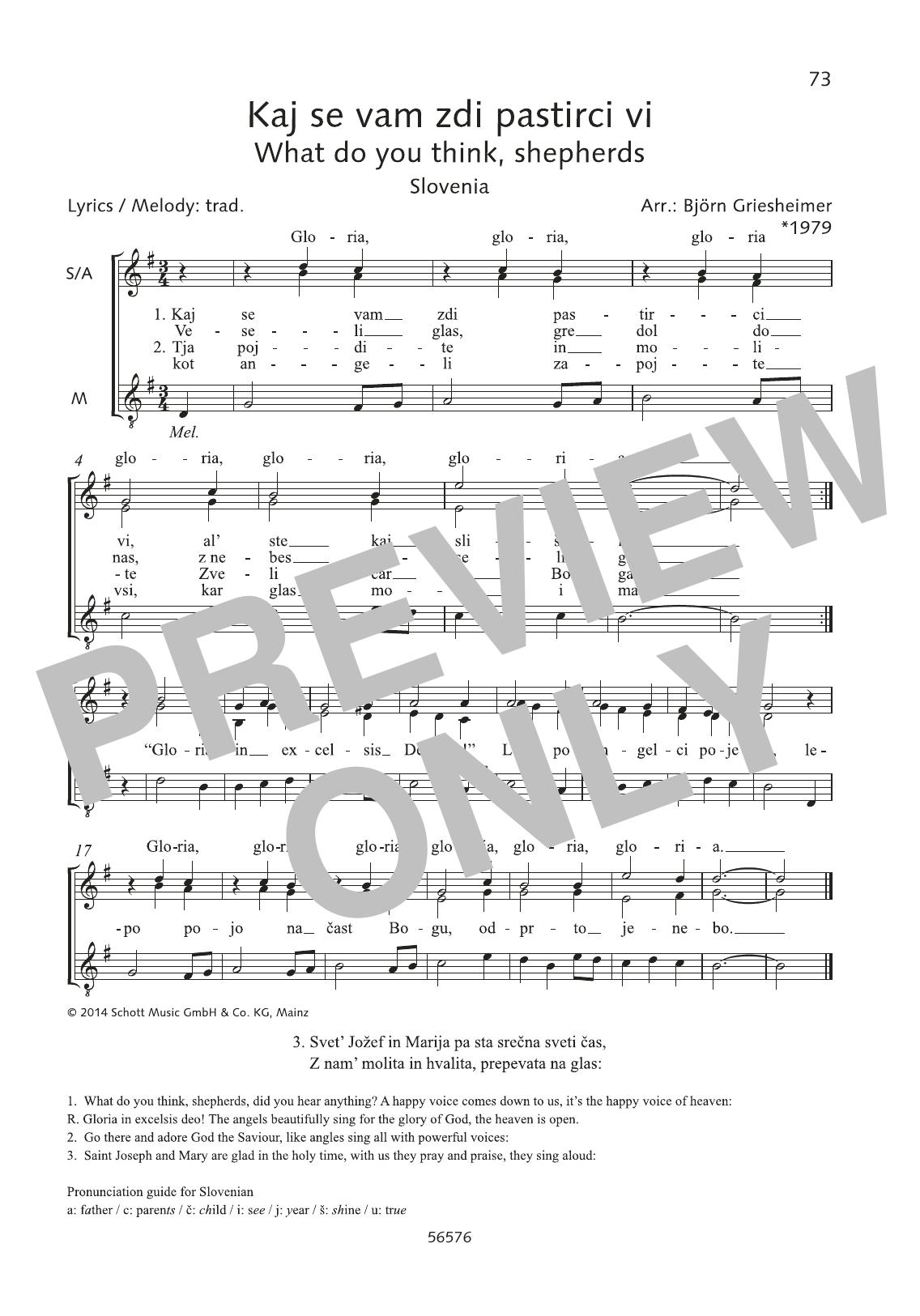 Björn Griesheimer Kaj se, vam zdi pastirci vi sheet music preview music notes and score for Choir including 1 page(s)