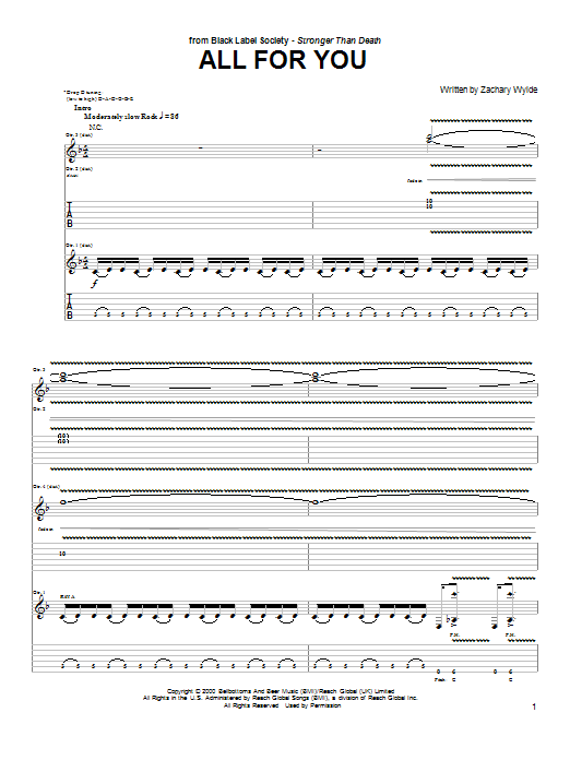 Black Label Society All For You sheet music preview music notes and score for Guitar Tab including 9 page(s)