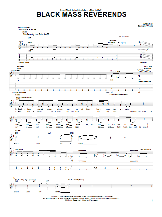 Black Label Society Black Mass Reverends sheet music preview music notes and score for Guitar Tab including 3 page(s)