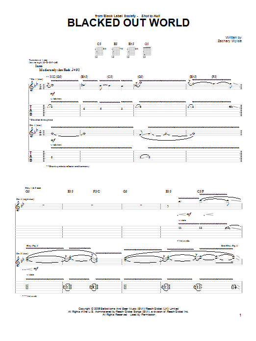 Black Label Society Blacked Out World sheet music preview music notes and score for Guitar Tab including 4 page(s)