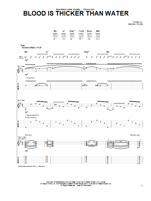 Black Label Society Blood Is Thicker Than Water sheet music preview music notes and score for Guitar Tab including 7 page(s)