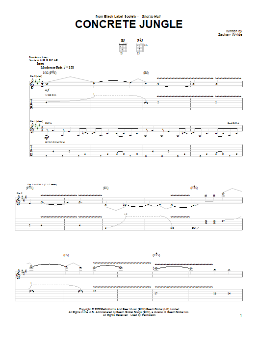 Black Label Society Concrete Jungle sheet music preview music notes and score for Guitar Tab including 5 page(s)