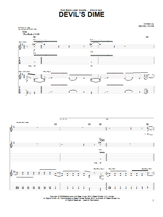 Black Label Society Devil's Dime sheet music preview music notes and score for Guitar Tab including 4 page(s)