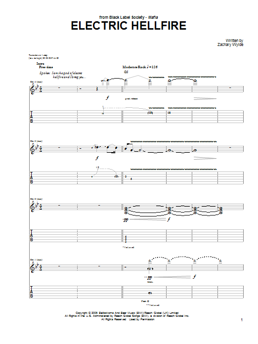 Black Label Society Electric Hellfire sheet music preview music notes and score for Guitar Tab including 5 page(s)