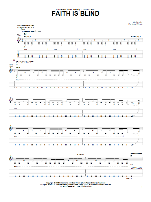 Black Label Society Faith Is Blind sheet music preview music notes and score for Guitar Tab including 4 page(s)