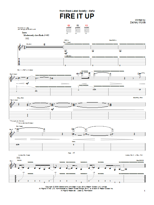 Black Label Society Fire It Up sheet music preview music notes and score for Guitar Tab including 7 page(s)