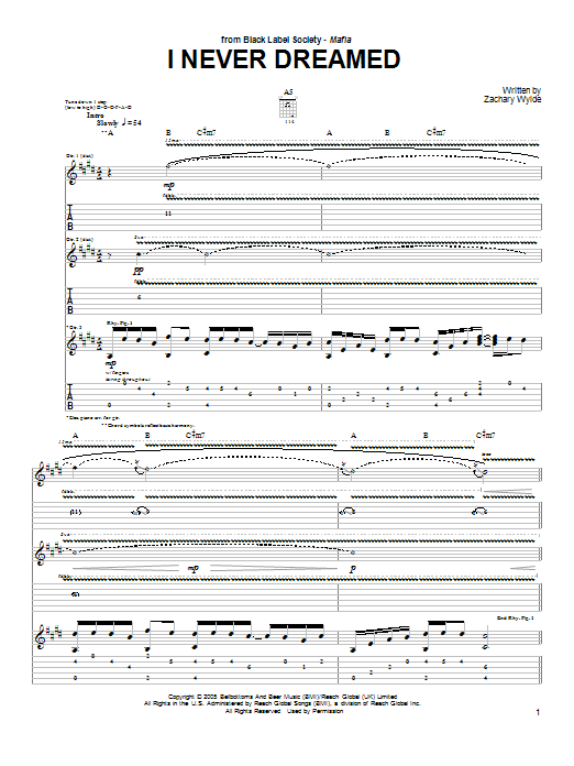 Black Label Society I Never Dreamed sheet music preview music notes and score for Guitar Tab including 12 page(s)
