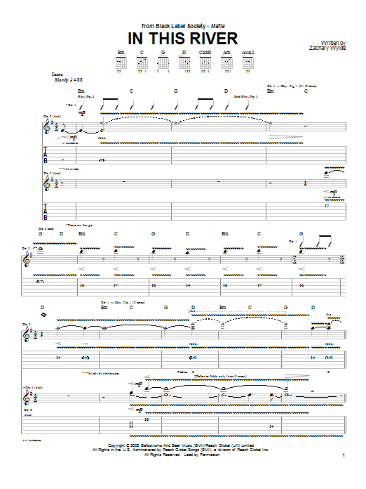 Black Label Society In This River sheet music preview music notes and score for Guitar Tab including 5 page(s)