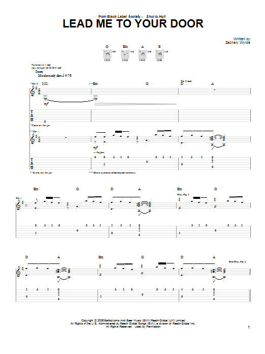 Black Label Society Lead Me To Your Door sheet music preview music notes and score for Guitar Tab including 5 page(s)
