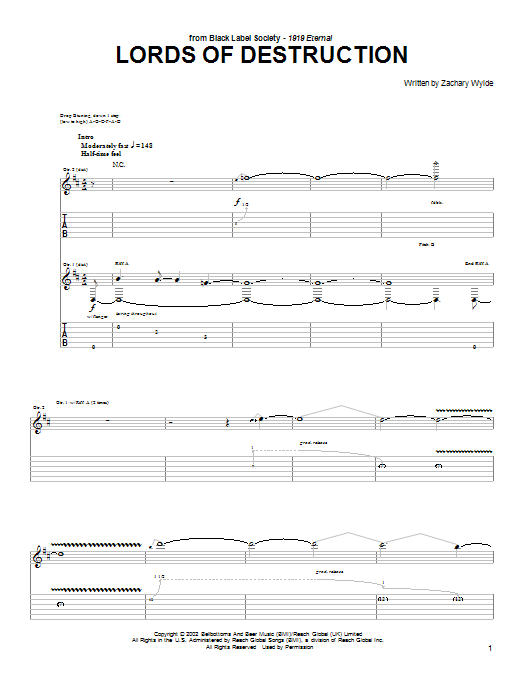 Black Label Society Lords Of Destruction sheet music preview music notes and score for Guitar Tab including 8 page(s)