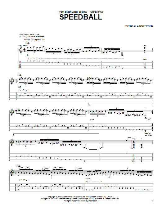 Black Label Society Speedball sheet music preview music notes and score for Guitar Tab including 2 page(s)