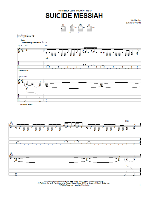 Black Label Society Suicide Messiah sheet music preview music notes and score for Guitar Tab including 8 page(s)