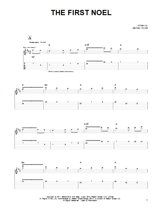 Black Label Society The First Noel sheet music preview music notes and score for Guitar Tab including 10 page(s)