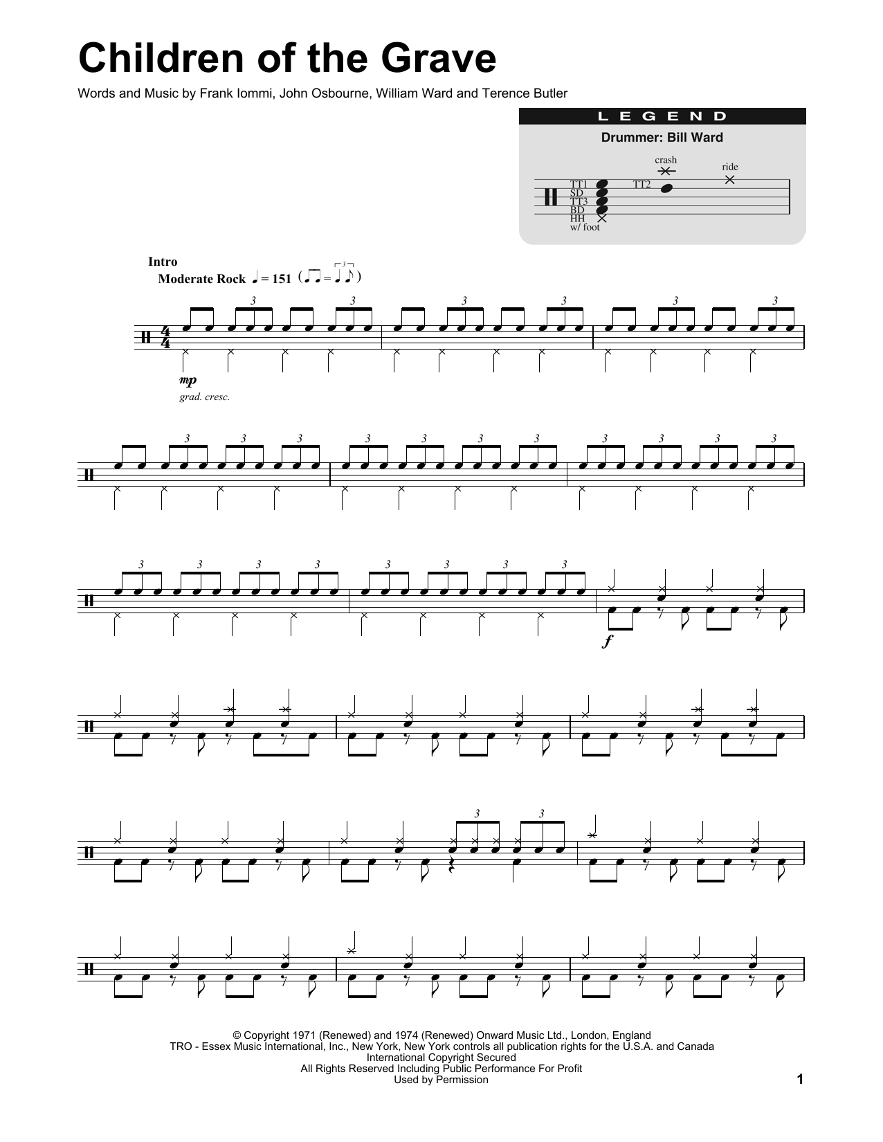 Black Sabbath Children Of The Grave sheet music preview music notes and score for Easy Guitar Tab including 3 page(s)
