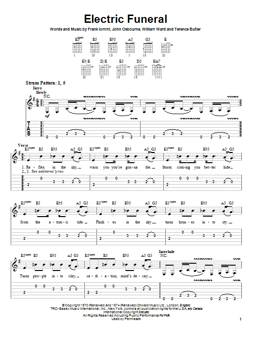 Black Sabbath Electric Funeral sheet music preview music notes and score for Easy Guitar Tab including 4 page(s)