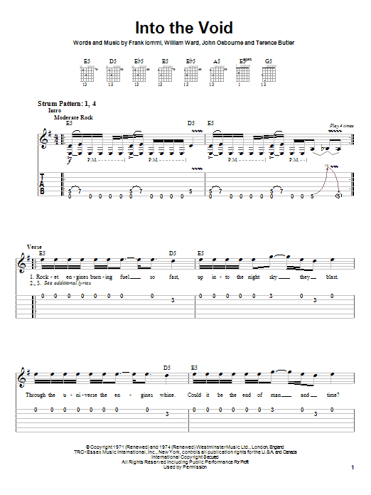 Black Sabbath Into The Void sheet music preview music notes and score for Easy Guitar Tab including 5 page(s)