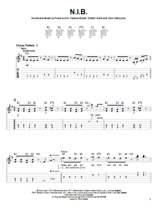Black Sabbath N.I.B. sheet music preview music notes and score for Guitar Tab including 6 page(s)