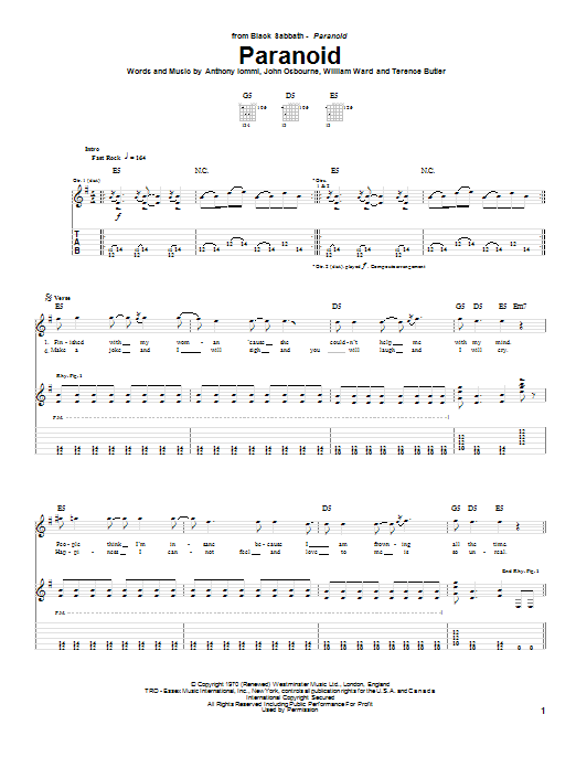 Black Sabbath Paranoid sheet music preview music notes and score for Lyrics & Chords including 2 page(s)