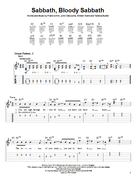 Black Sabbath Sabbath, Bloody Sabbath sheet music preview music notes and score for Easy Guitar Tab including 6 page(s)