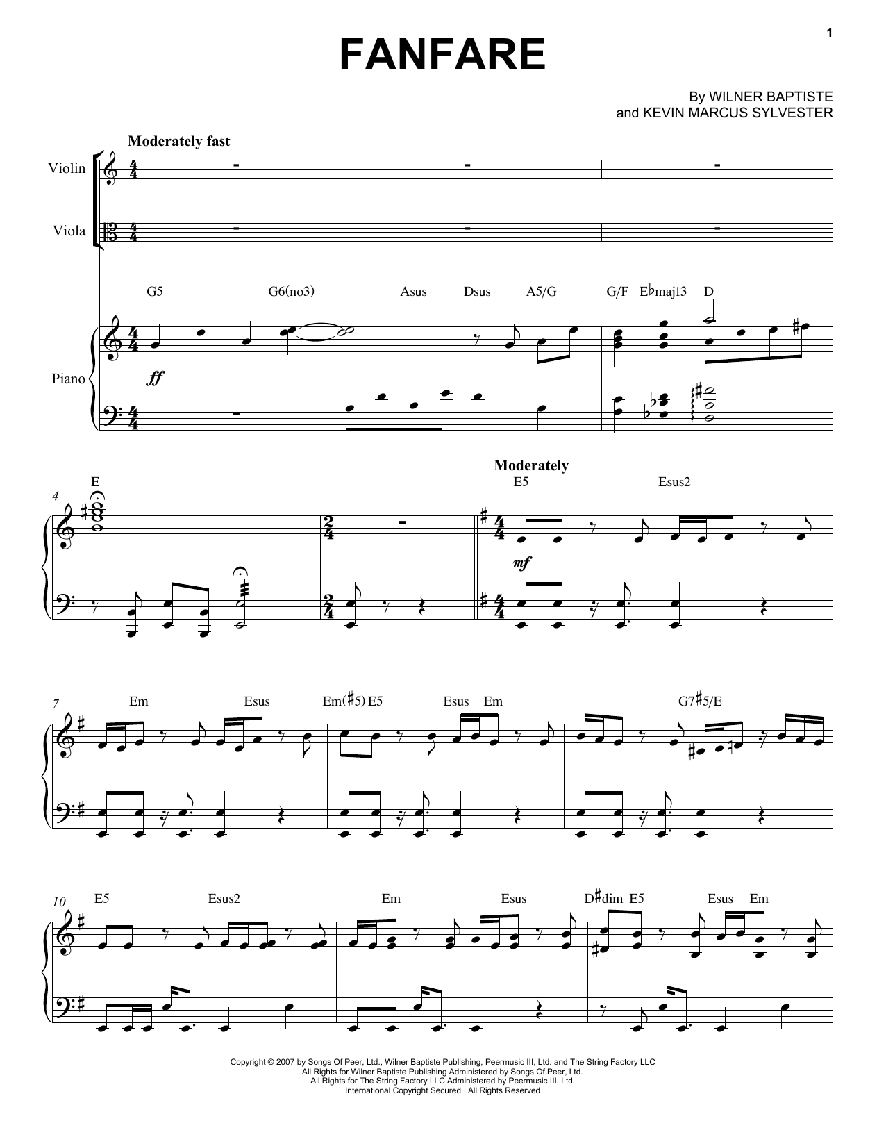 Download Black Violin 'Fanfare' Digital Sheet Music Notes & Chords and start playing in minutes