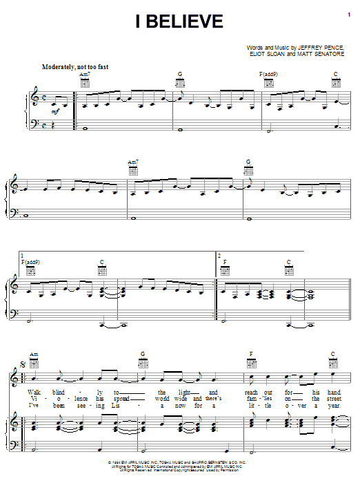 Blessid Union Of Souls I Believe sheet music preview music notes and score for Piano, Vocal & Guitar (Right-Hand Melody) including 8 page(s)