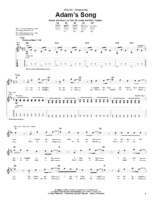 Blink-182 Adam's Song sheet music preview music notes and score for Guitar Tab including 6 page(s)