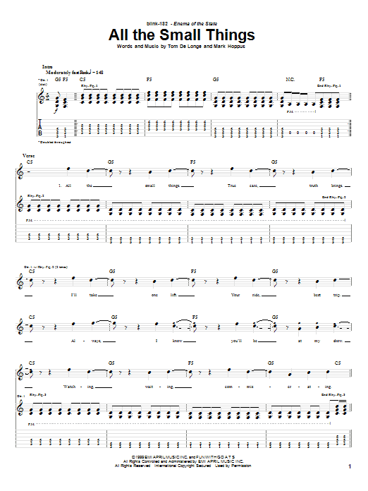 Blink-182 All The Small Things sheet music preview music notes and score for Guitar Tab including 4 page(s)