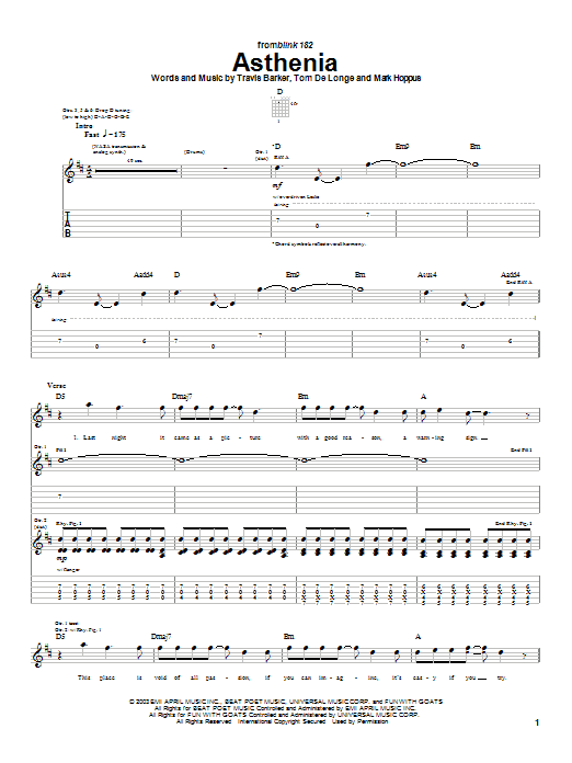 Blink-182 Asthenia sheet music preview music notes and score for Guitar Tab including 6 page(s)