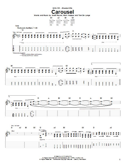 Blink-182 Carousel sheet music preview music notes and score for Guitar Tab including 6 page(s)