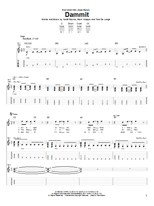 Blink-182 Dammit sheet music preview music notes and score for Guitar Tab including 6 page(s)