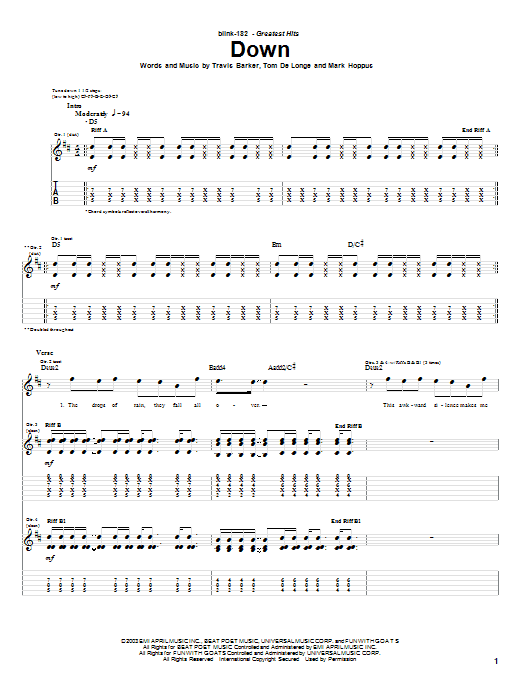 Blink-182 Down sheet music preview music notes and score for Guitar Tab including 4 page(s)
